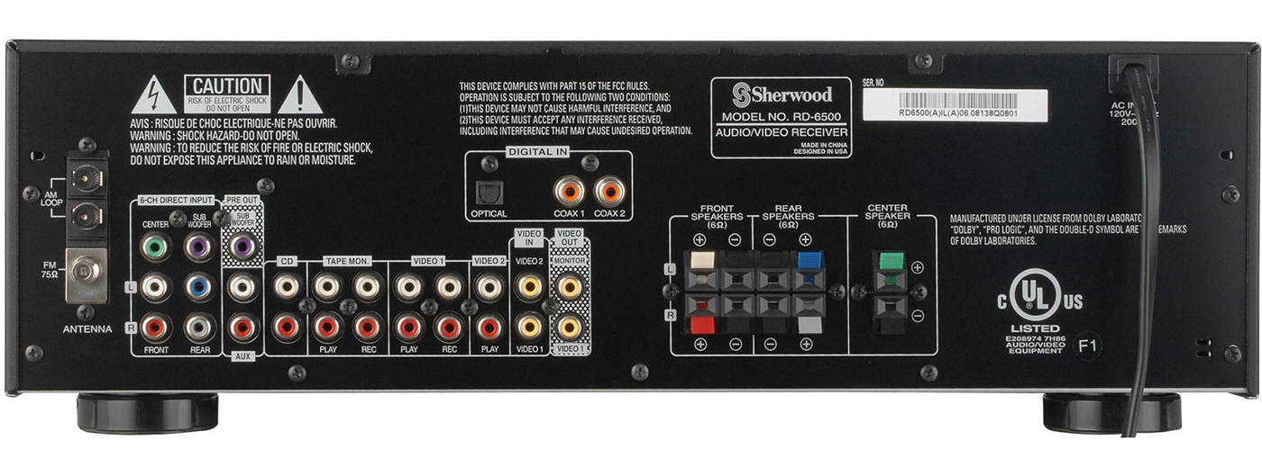 Sherwood RD 6500 Amp - Back